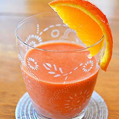 いちごオレンジジュース できあがり